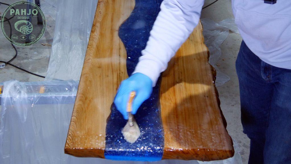 Epoxy Bar Top using Reclaimed Wood flood coats