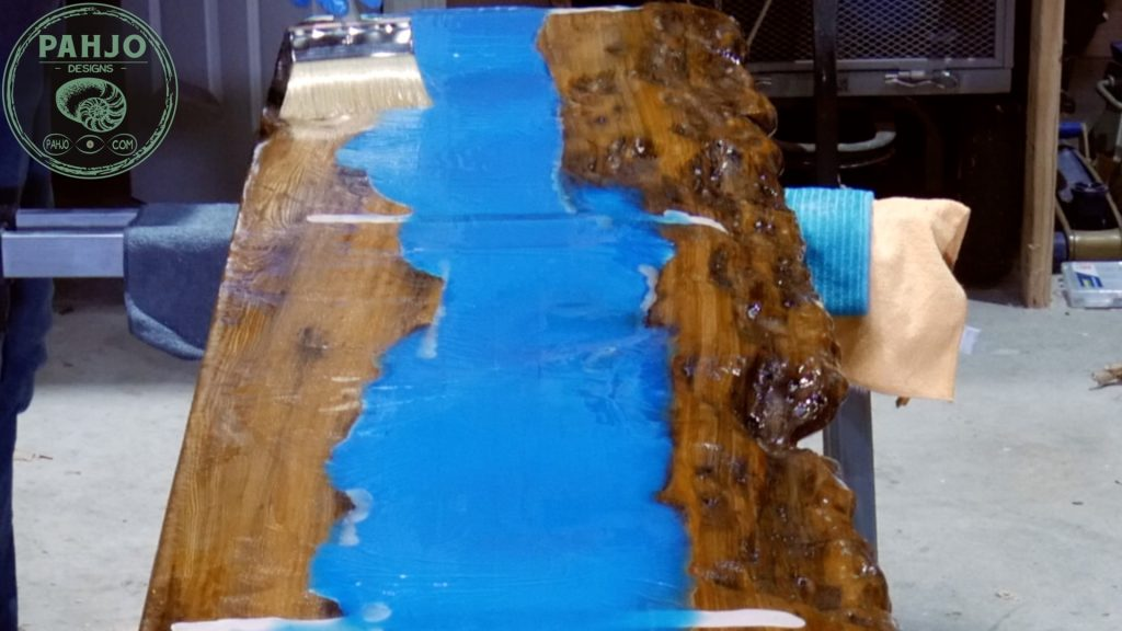 Epoxy Bar Top using Reclaimed Wood seal underside