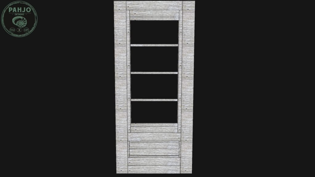 DIY Farmhouse Pantry Door with Glass - 3d model