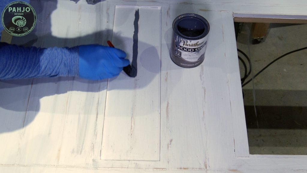 DIY Farmhouse Pantry Door with Glass - Paint Distressing Technique
