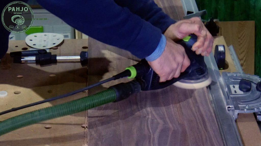 How To Build DIY Double Sliding Barn Door Festool RO125 Sanding Technique