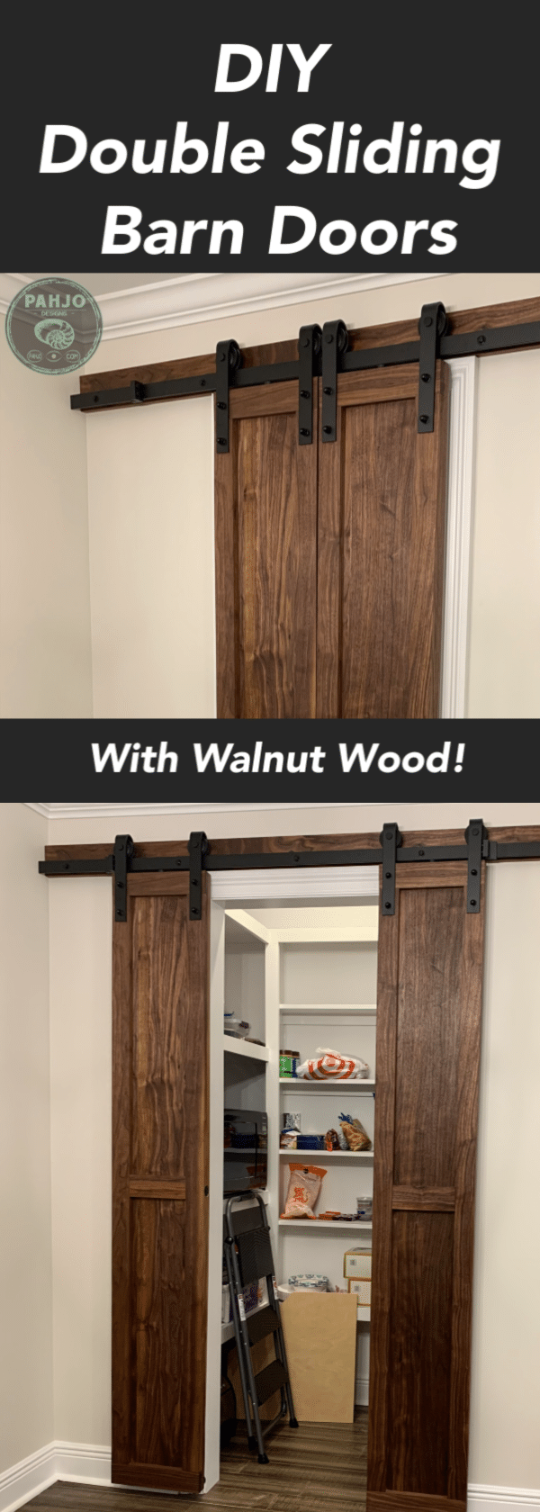 In this tutorial, I show you how to build DIY double sliding barn doors for a pantry.  These rustic barn doors are made with walnut wood and have a matching walnut dining table.