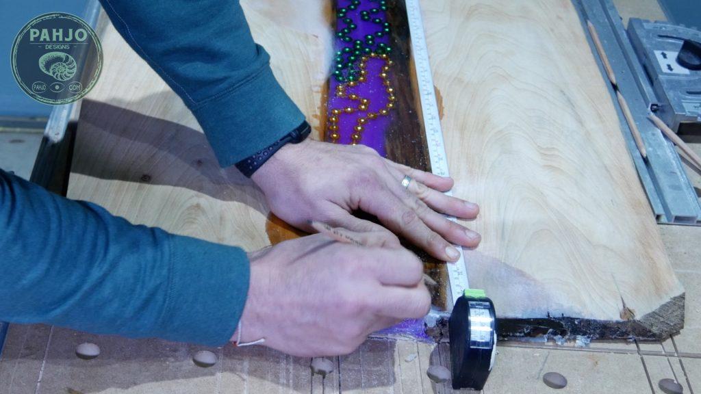 LED Epoxy Resin Wood Wall Art Mark Lines