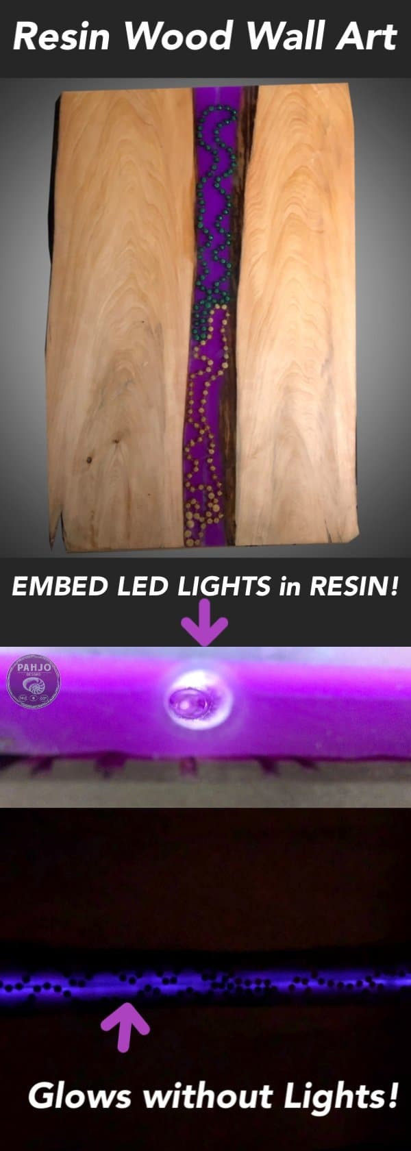Learn the best technique to embed LED strip lights in Epoxy Resin and easily replace them.  Due to popular demand, I decided to provide more detail on a new technique I used in a recent epoxy resin LED wall art project.  This epoxy resin technique shows how to embed led strip lights in resin and replace them. Furthermore, this technique makes it easy to upgrade LED strip lights to different colors.