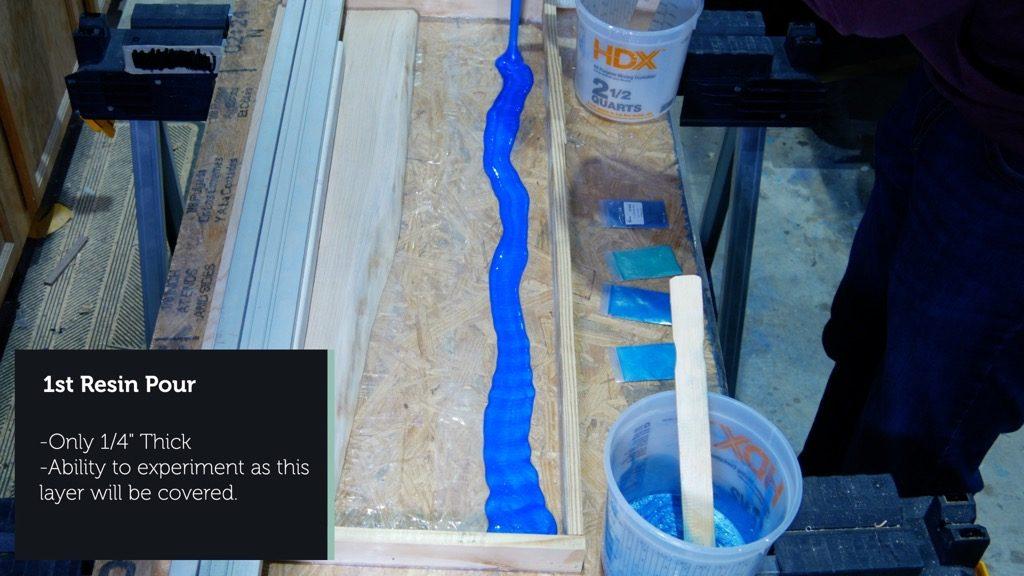 wood resin beach art pour deep blue