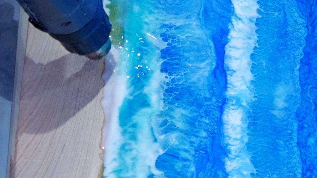 transparent resin ocean waves