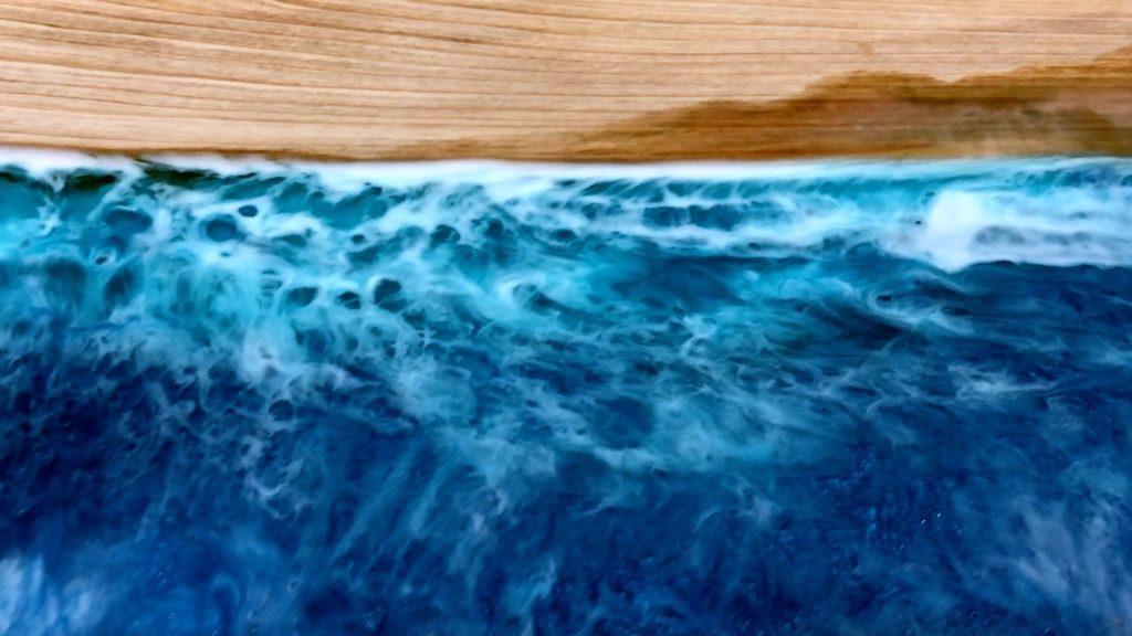 Wood Resin Beach Art Ocean Waves