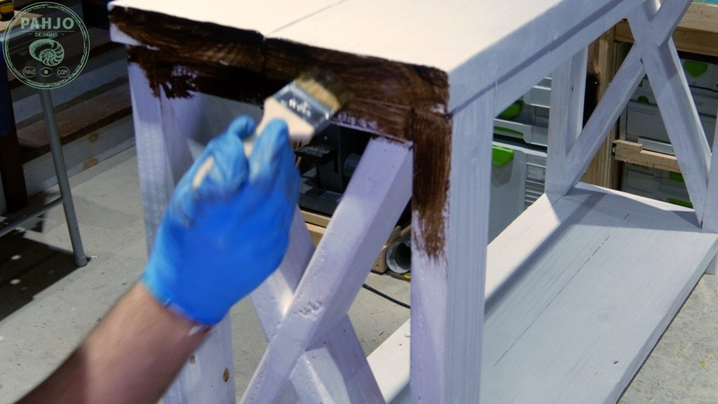 apply dark creme wax to distress painted furniture