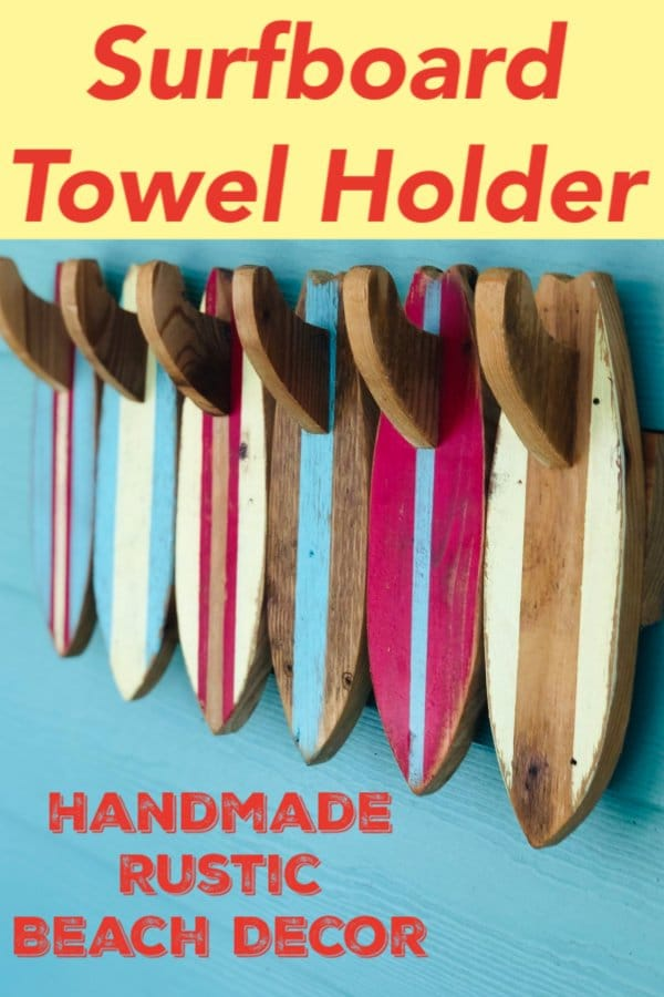 This rustic wood surfboard towel rack (or coat rack) brings a beach vibe and coastal decor to any indoor or outdoor space.  The distressed & weathered kalalou colors patterns (red, blue, yellow, & bare wood) make each surfboard and surfboard fin unique.  The wood surfboard towel rack dimensions are: 6 Surfboard Towel Rack: 10\