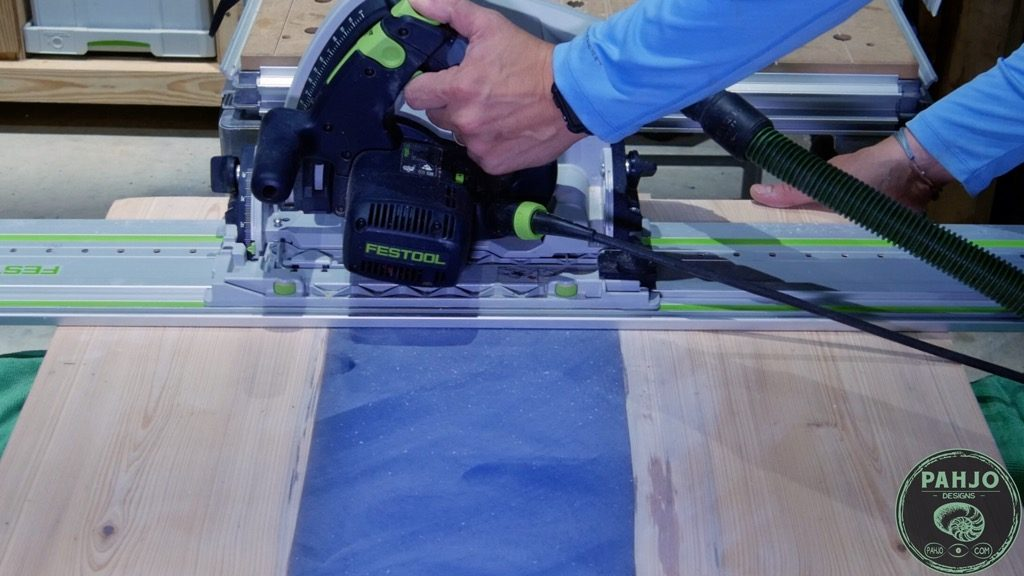 Cross Cut epoxy river desk to final dimension with Festool TS75