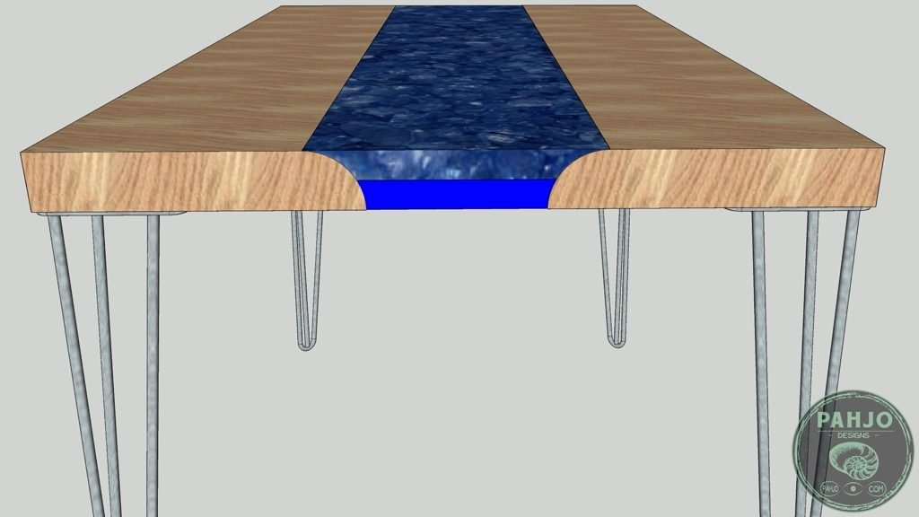 transparent epoxy river desk with rocks 3D model