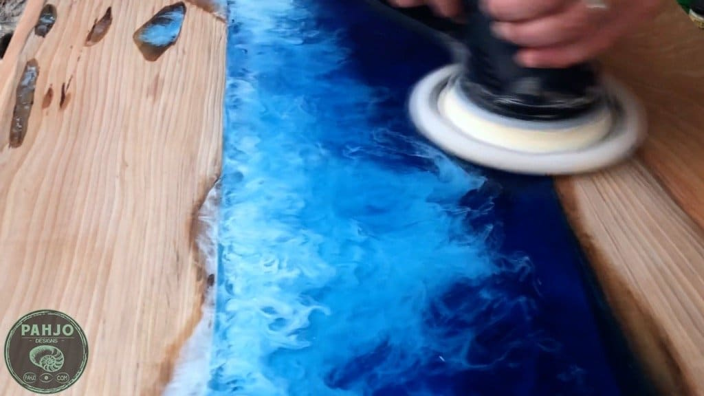how to polish epoxy river table