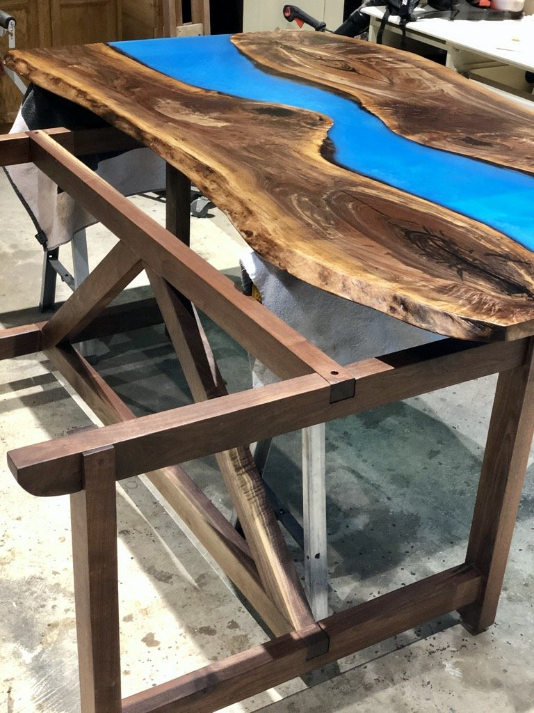 walnut dining trestle table bottom