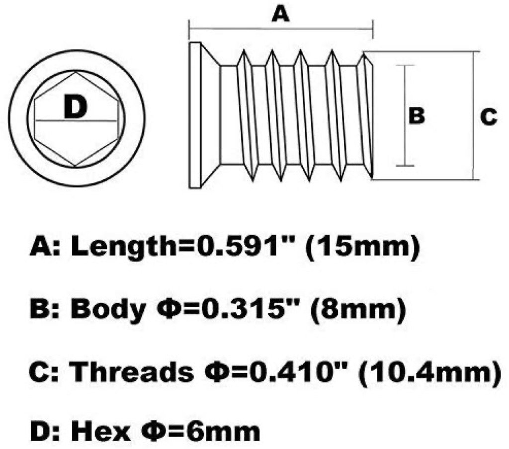 threaded insert dimensions