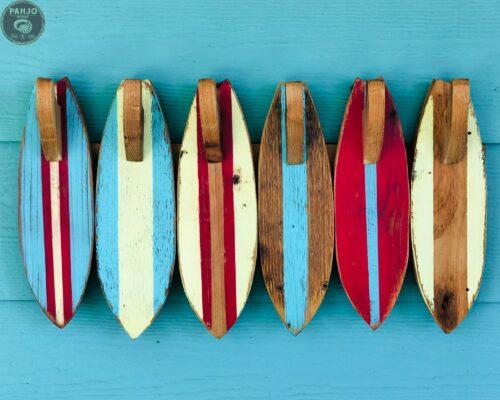 Wood Surfboard Towel Rack Front View
