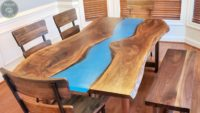 DIY Walnut Slab Epoxy Dining Table