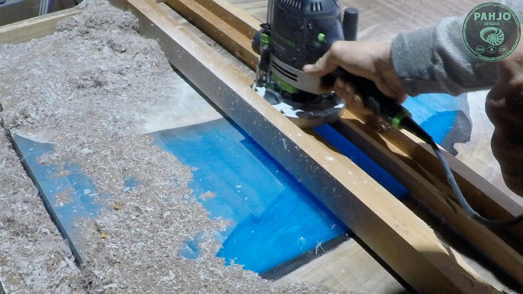 flatten wood slab epoxy table