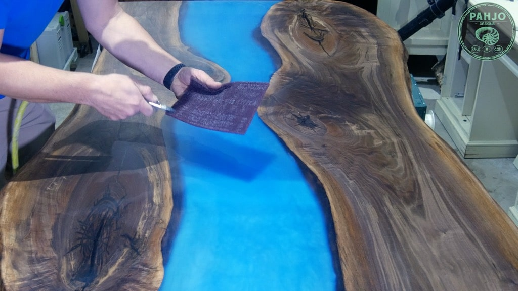 apply rubio monocoat on epoxy wood slab table