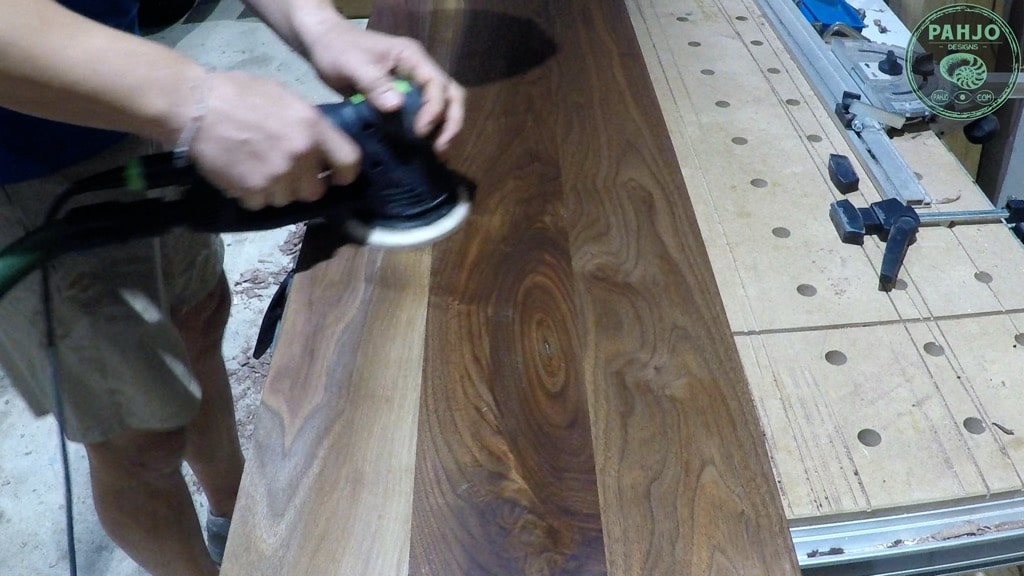 walnut epoxy dining table bench sanding