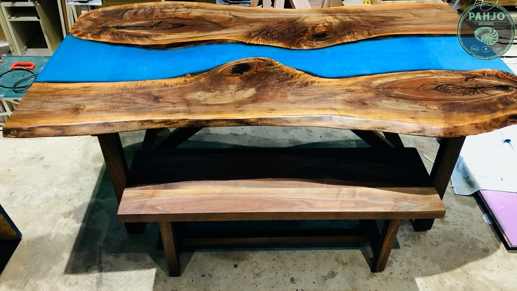DIY Walnut Epoxy Dining Table with Bench
